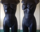 Sample Sale - Black Latex Bow Top and Bow Hotpants, UK size 10-12