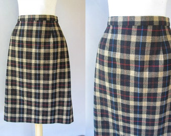 70s Plaid Wool Skirt - Vintage Tartan Plaid Plaid  - 1970s Preppy A line Skirt  M
