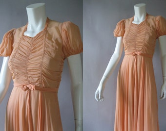 1930s Peach Chiffon Dress - Vintage 30s Sheer Gown with Large Sweep