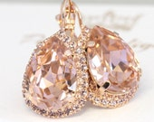 Blush Drop Earrings,Blush Rose Gold Bridal earrings,Blush Dangle earrings,Rose quartz,Bridal Blush Gold Earrings,Bridal Blush Pink Jewelry