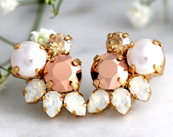Rose Gold Earrings, Bridal Rose Gold Earrings, Cluster Earrings, Bridesmaids Earrings, Pearl Stud Earrings, Swarovski Earrings, Opal Studs