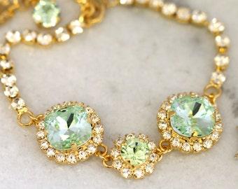Mint Bracelet,Bridal Mint Crystal Bracelet,Bridal Mint Swarovski Bracelet,Swarovski Crystal Wedding Bracelet,Bridal Gold Mint Bracelet.