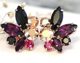 Purple Black Earrings,Swarovski Purple Rose Gold Earrings,Bridal Cluster Earrings,Bridesmaids Earrings,Gift for her,Cocktail Earrings