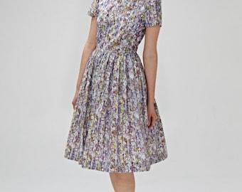 50s inspired sun dress , 1950s sun dress, 50s bridesmaid dress, lilac 50s dress with low back, tea length dress by Mrs Pomeranz