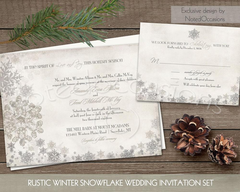 Winter Wedding Invitation Wording: Winter Wedding Invitation Set Printable Snowflake Winter