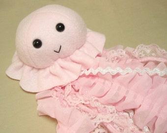 Pink Jellyfish - Fleece Plush Jellyfish with Lace Tentacles Stuffed Sea Creature Animal