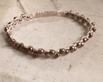 Cream Bracelet - Bronze Metallic Beads - Macrame Jewelry - Adjustable Jewellery - Fashion - Trendy - Beaded