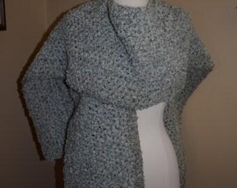 Green/White Crocheted Ruana