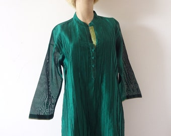 Vintage Fabindia Tunic - emerald green cotton & silk blouse - ethnic top