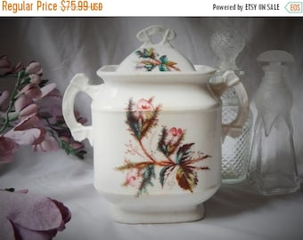 fall sale 2016 LOVELY~Antique 1870s ~KTK~ Knowles, Taylor & Knowles 'Moss Rose' Ironstone China~ Covered Jar