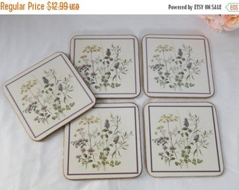fall sale 2016 Set of 5~Vintage Botanical Square Coasters~Cottage Chic~Spring Decor