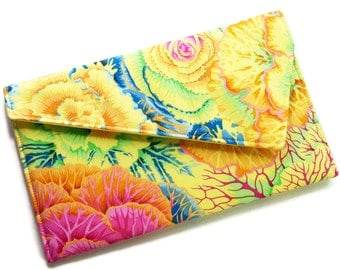 Envelope Clutch Purse - Yellow, Pink, Orange, Blue Green Flowers Wedding Clutch Bridesmaid Clutch
