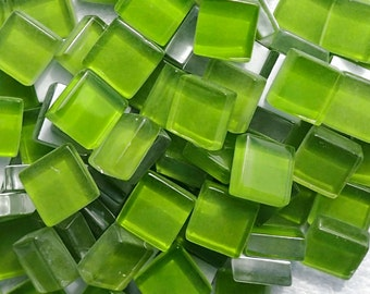 Green Glass Tiles - 1 cm - Crystal Mosaic Tiles - Set of 100 - Deep Green Apple - Use for Mosaic Jewelry Crystal