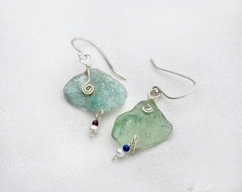 Roman Glass Earrings. Two Tone Ancient Roman Glass  Silver Earrings+ Pearls& Stone Beads. Roman Glass Jewelry. Israeli Jewelry Free Shipping