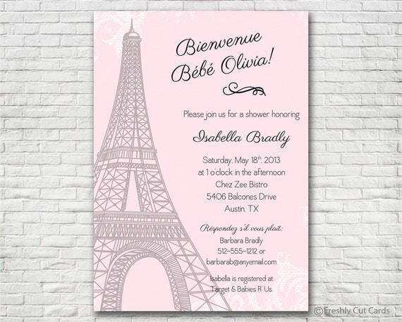 Parisienne Baby Shower Invitation - Printable or Printed (w/ FREE Envelopes)