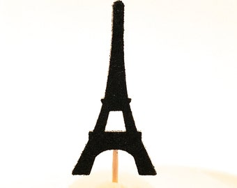 12 Black Glitter Eiffel Tower Cupcake Toppers