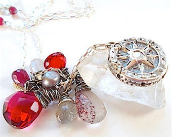 TRUE NORTH Wax Seal Jewelry Compass Ruby Red Wire Wrapped Gemstone Necklace . You CUSTOMIZE the Stones and Bead Colors, Jewellery