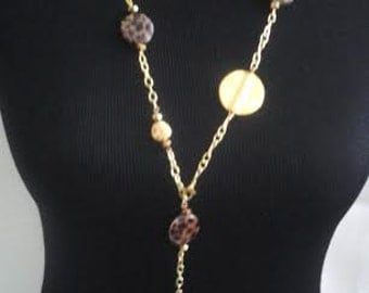 Long Gold Tone and Leopard Beads  Necklace and Earring Set