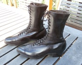 """Pristine Antique Edwardian Victorian High Top Brown Lace Boots 9"""" Tall"""