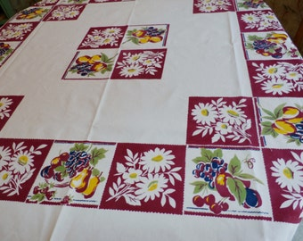 "Pretty 1950s Vintage Fruit and Daisies Tablecloth Wine, Blue, Green, Yellow  48 1/4"" x 52 1/4"""