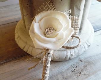 Ready to Ship ~~~ Sola Rose Rustic Boutonniere, Sola Rose Flower, Rhinestone, Burlap, Lace, Jute, Twine.