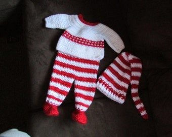 Red and White Baby Sweater and Footed Pants with matching Stocking Hat Newborn to 3 months