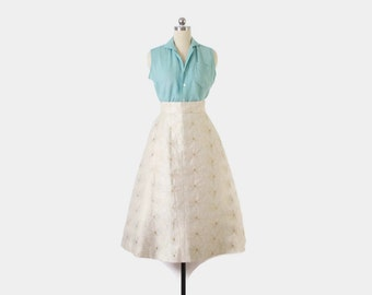 Vintage 50s Full SKIRT / 1950s Metallic  Ivory & Gold Sparkle Floral Bow Detail S