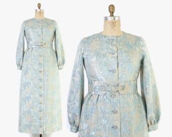Vintage 60s Oscar De La Renta JACKET / 1950s Metallic Blue Brocade ODLR Designer Belted Evening Maxi Coat