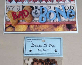 Dog Pet Puppy Scrapbook Lot Stickers Embellishments Buttons