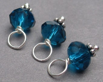 Teal Blue Crystal Charms, Bead Dangles, Stitch Markers, Interchangeable Earrings, Wine Glass Charms, The Dangle Diva