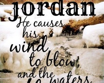 Jordan Scripture Bible verse name quote christian man art Boy photography nature Psalm winter snow ice Shower gift birthday nursery