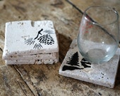 Nature Drink Coasters - Set of Four / Natural Tumbled Marble / Handmade Custom Hand Painted / Rustic Cabin Home Decor