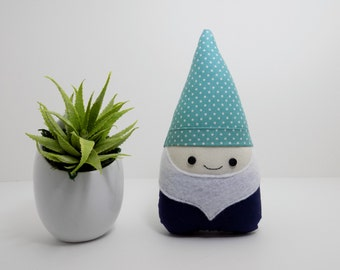 Gnome mini plush in teal and navy, gnome stuffed toy, gnome decoration, garden gnome, woodland decor