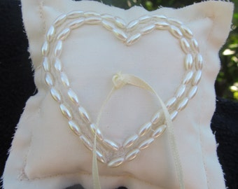 Tiny Ring Pillow - Ring Bearer Pillow - Ivory , White  Cotton, Beads