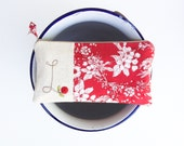 Personalized Gift for Sister, Monogram Clutch, Sister in Law Gift, Red Monogrammed Bag, Zipper Pouch, Letter L, Gift under 50 READY TO SHIP