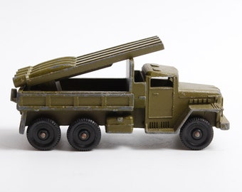 Vintage small model metal toy, Katyusha rocket launcher, military car with gun USSR Red army,