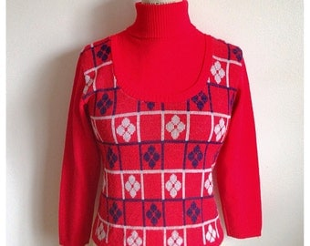 Vintage 60s/70s red turtleneck sweater