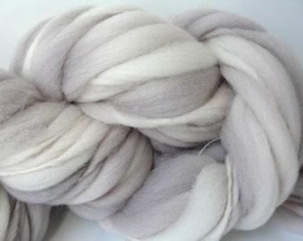 Handspun Chunky Yarn,Hand Painted Yarn,  Thick and Thin yarn, Photo Prop, Baby Bump Blanket,  Slub Yarn Fog 50 yards