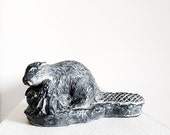 Hand Carved Soapstone  Beaver Figurine Vintage Replica Of Inuit Art Made In Canada  Small Animal Sculpture Totem Fetish Lodge Cabin Decor