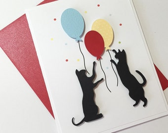 Cat Birthday Card - Cat silhouette and balloons, celebration card
