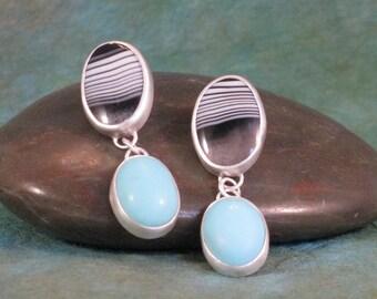 Zebra Agate and Turquoise Earrings