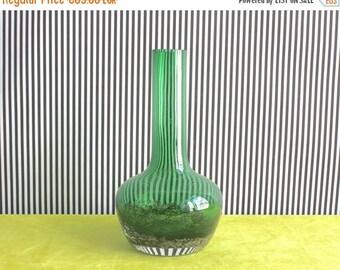 Summersale Vintage Schott Zwiesel German Emerald Green Glass Vase Florida dekor by Heinrich Löffelhardt