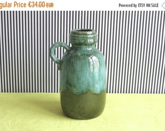 SALE West German Pottery Forest Green and Aquamarine Blue Handled Vase 413-20 made by Scheurich