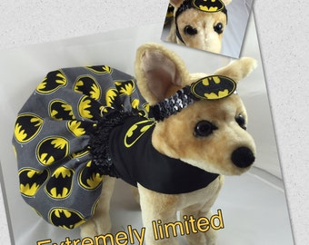 Batman Girl inspired dog costume, character batman dog costume, halloween batgirl dog, small dog batman, large dog batman, fancy dog dress