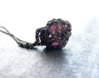 deep pink rosequartz necklace, oxidized sterling silver, crochet necklace, ooak