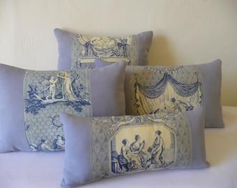 ANTIQUE FRENCH FABRIC pillow antique toile de jouy  antique French linen