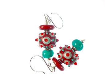 Red Dangle Earrings, Glass Bead Earrings, Teal Green Drop Earrings, Glass Bead Jewelry, Lampwork Earrings, Mod Earrings, Lampwork Jewelry