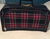 Vintage Red Black Plaid Carry On Suitcase with Key Great Condition