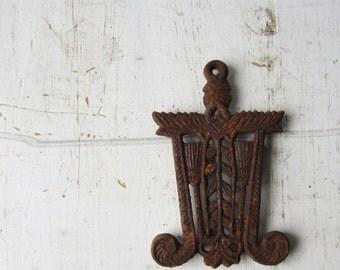 ON SALE Vintage Rusty Decorative Metal Trivet - Japan - Rustic Home Decor
