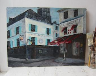 Vintage Paris Cafe Street Oil Painting - Hotel Consulat